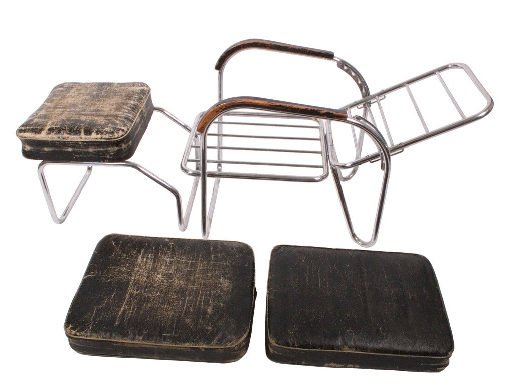 1920s, Original Bauhaus Easy Chair and Ottoman For Sale 3