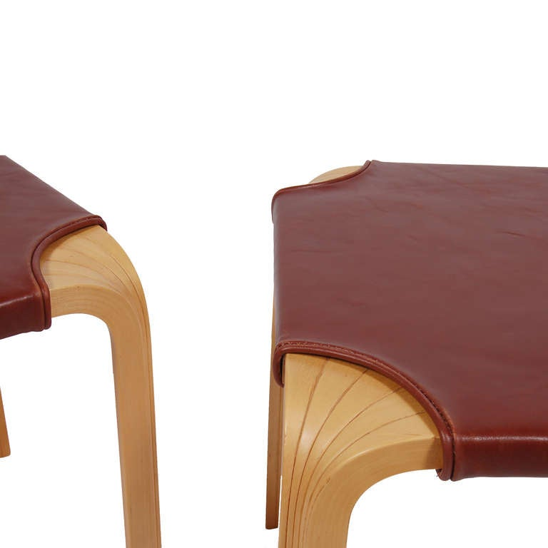 Pair Of Fan Leg Side Table Stools By Alvar Aalto At 1stdibs