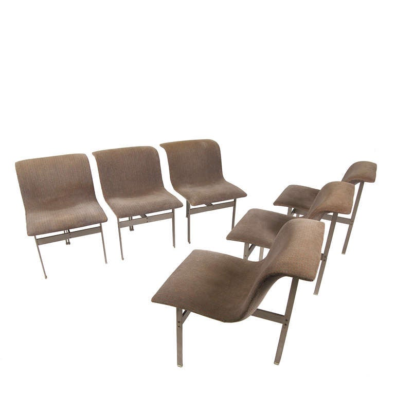 Set Of Six Wave Dining Chairs By Giovanni Offredi At 1stdibs