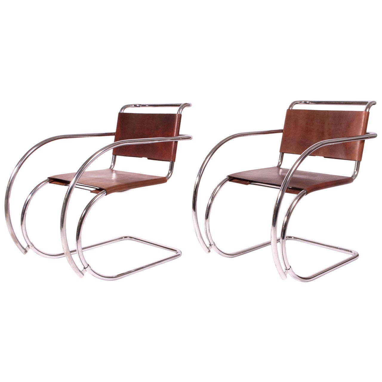 "Pair of ""MR"" Armchairs by Mies Van Der Rohe Imported by Stendig For Sale"