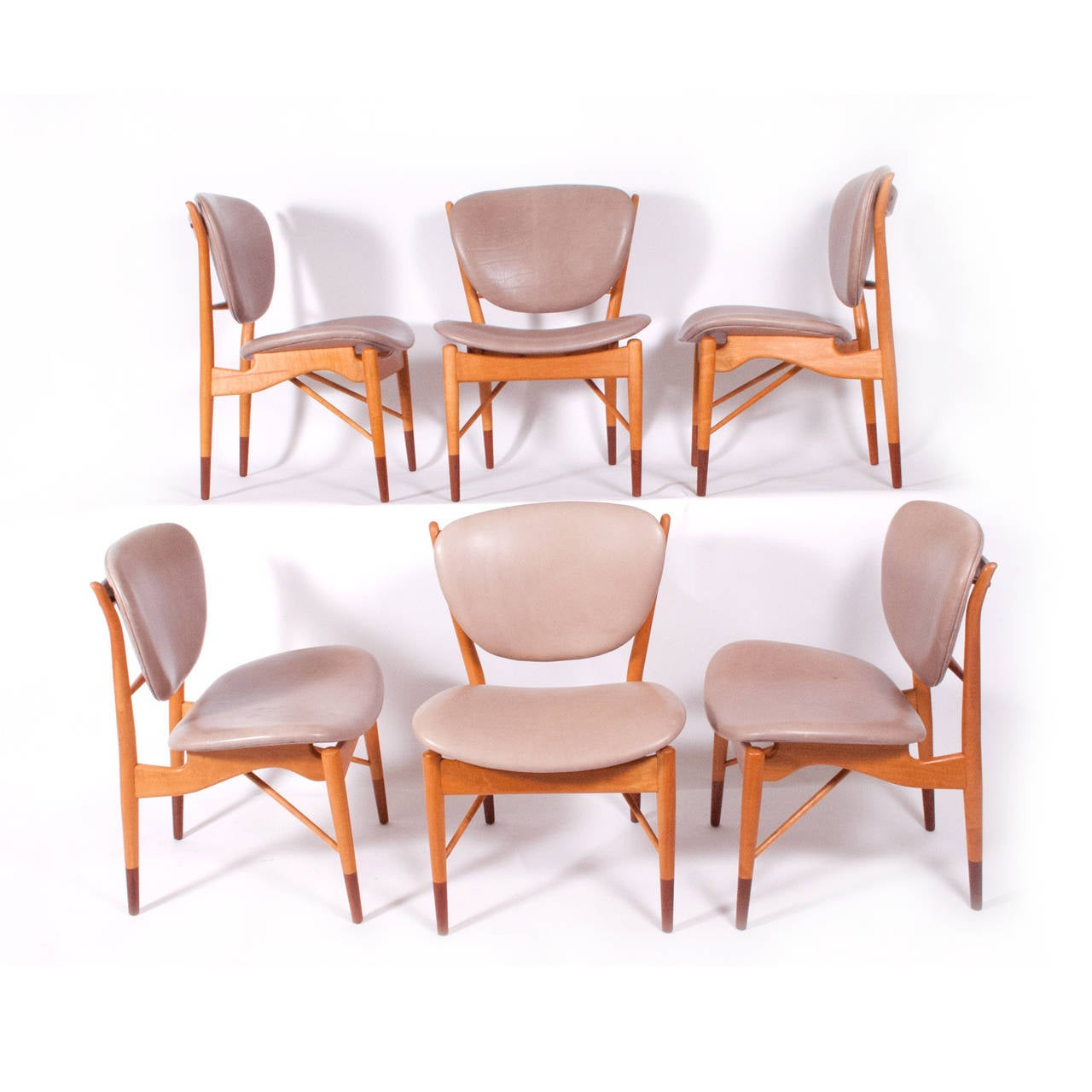 Scandinavian Modern Set of Six Finn Juhl NV-51 for Baker Dining Chairs For Sale