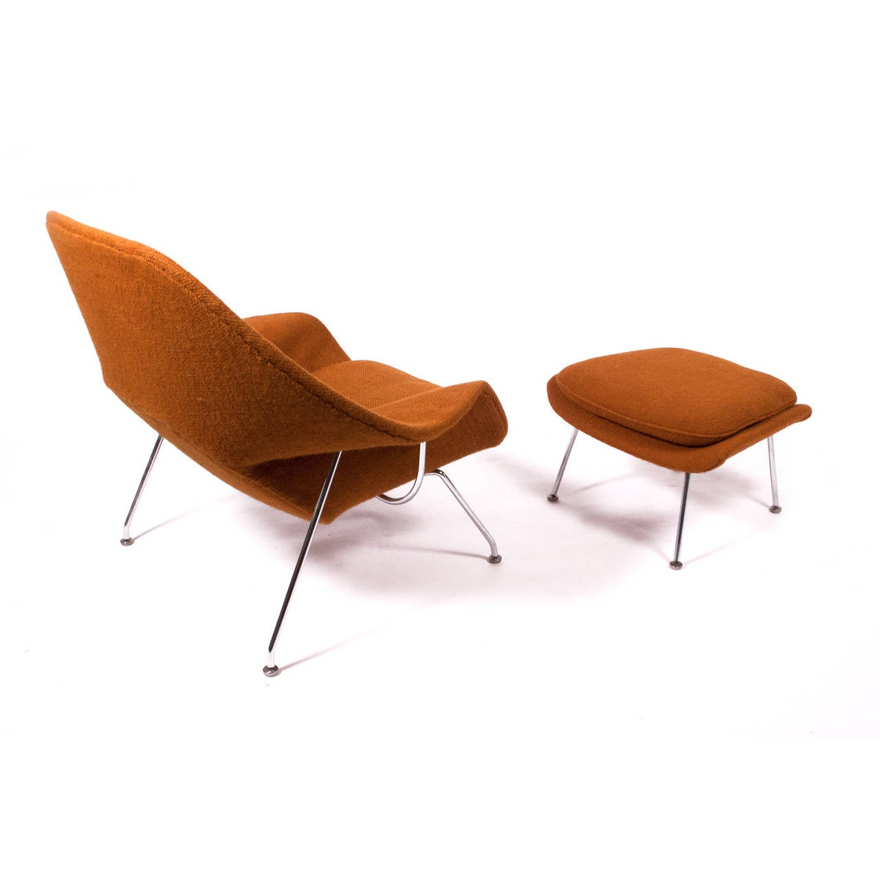1971 production by Knoll Associates in original Knoll tweed on chrome frame. Retains label with  sc 1 st  1stDibs & 70 Womb Chair and Ottoman by Eero Saarinen at 1stdibs