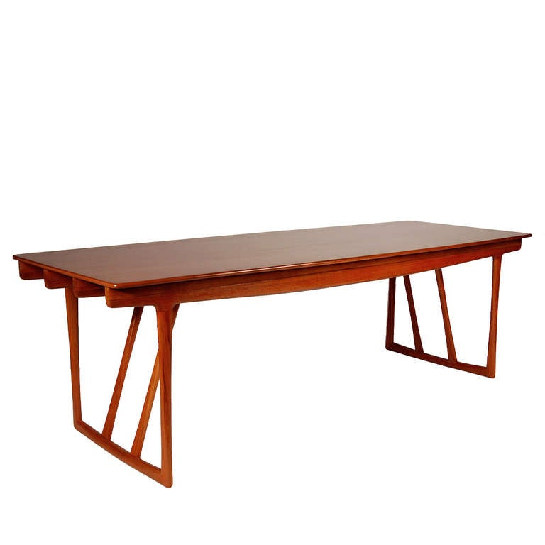 Award winning design, featured at the 1956 Cabinetmaker's Guild Exhibition in Copenhagen. Made of teak, retains label. Made by Cabinetmaker Willy Beck.