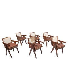 Set of Six Chandigarh Armchairs by Pierre Jeanneret