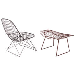 LKR-2 Charles Eames Wire Lounge Chair and Harry Bertoia Wire Ottoman