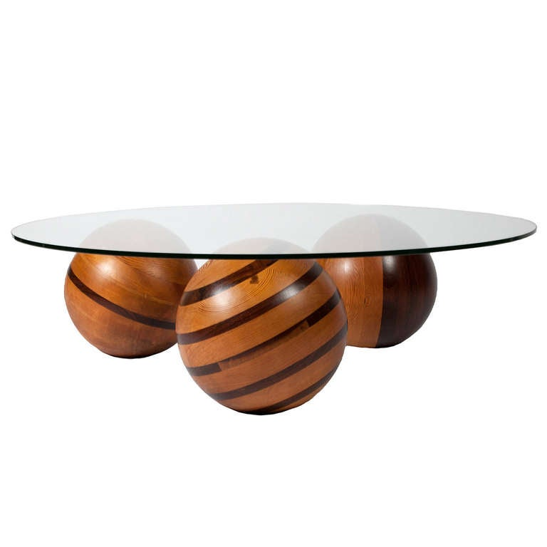 Low Coffee Table With Wooden Sphere Base At 1stdibs