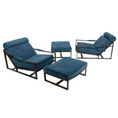 Two Sets of Milo Baughman Low Lounges with Ottomans