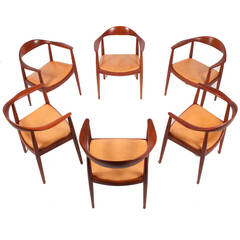 "Set of Six ""Round"" Chairs by Hans J. Wegner for Johannes Hansen"