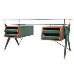 Rare Double-Drawer Executive Desk by Silvio Berrone