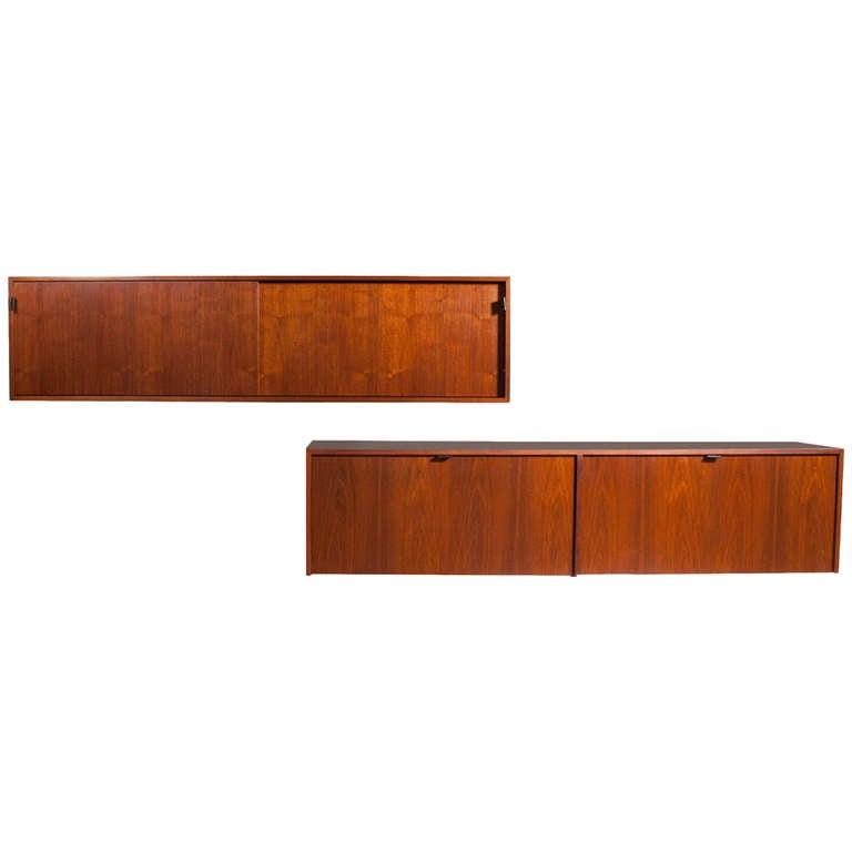 Elegant Pair Of Early Florence Knoll Wall Hanging Cabinet TOP ONE SOLD For Sale