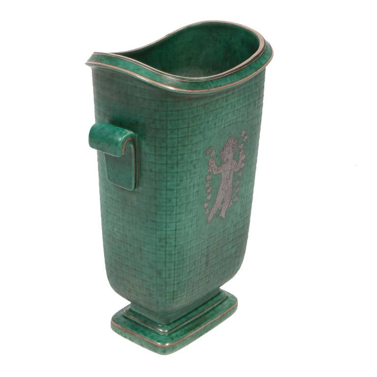 Swedish Stoneware Argenta Vase by Wilhelm Kage For Sale