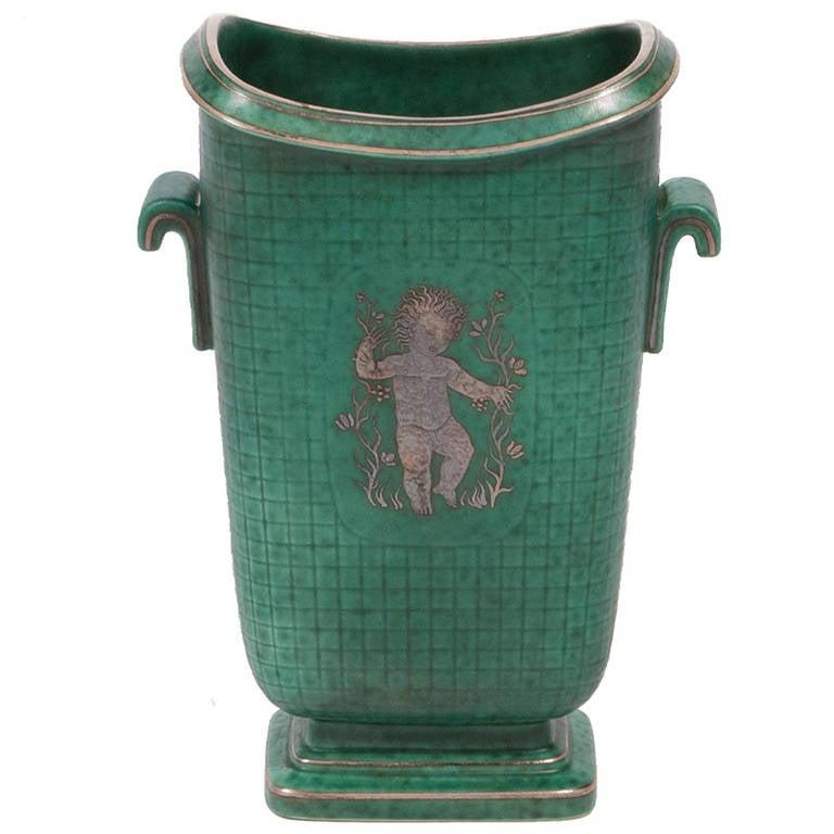 Stoneware Argenta Vase by Wilhelm Kage For Sale