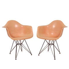 Pair of Early Charles Eames Fiberglass Armchairs