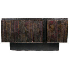 Rare Three-Door Deep Relief Cabinet by Paul Evans