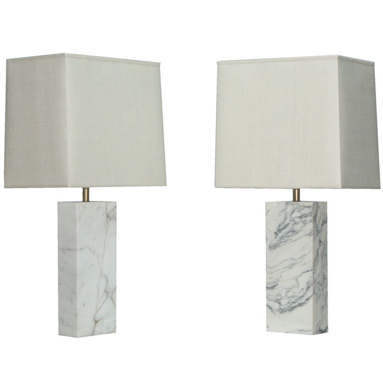 Pair Of Nessen Marble Table Lamps At 1stdibs