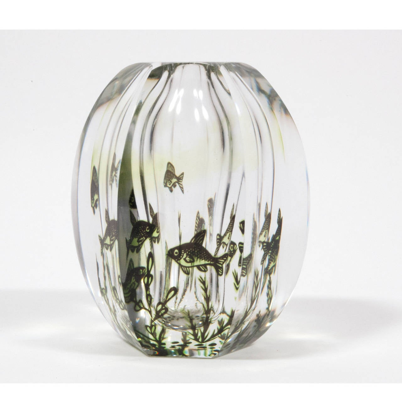 Six Sided Fish Graal Art Glass Vase by Edvin Ohrstrom 2