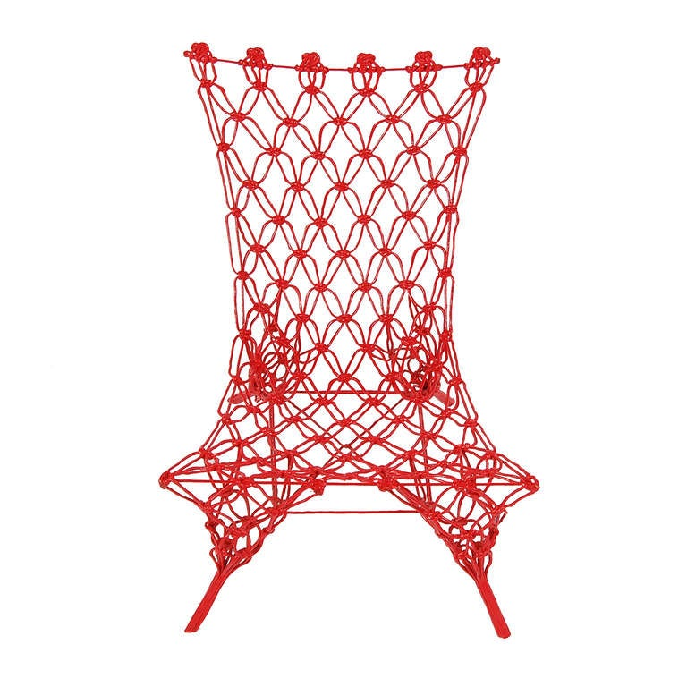 """Small easy chair, first designed in 1996, made in """"knotted"""" carbon and aramide fiber cord, epoxy resin finish. Limited edition produced in 99 examples only in 2006. Made by Cappellini."""