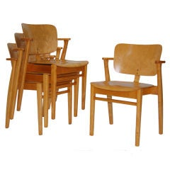 Set of Four Domus Stacking Armchairs by Ilmari Tapiovaara