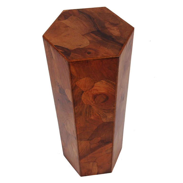 Handcrafted Hexagonal Inlaid Wood Pedestal At 1stdibs