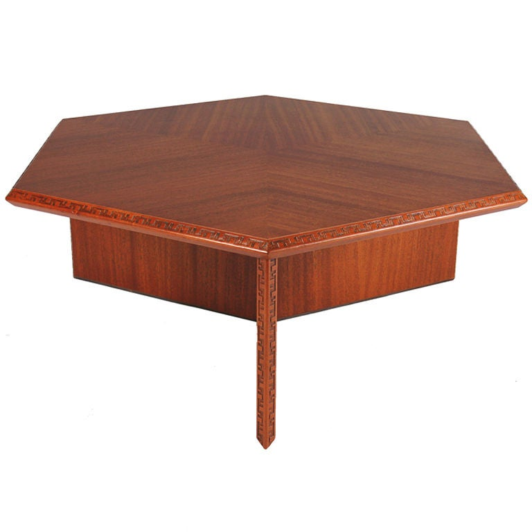 Frank Lloyd Wright Hexagonal Coffee Table For Sale