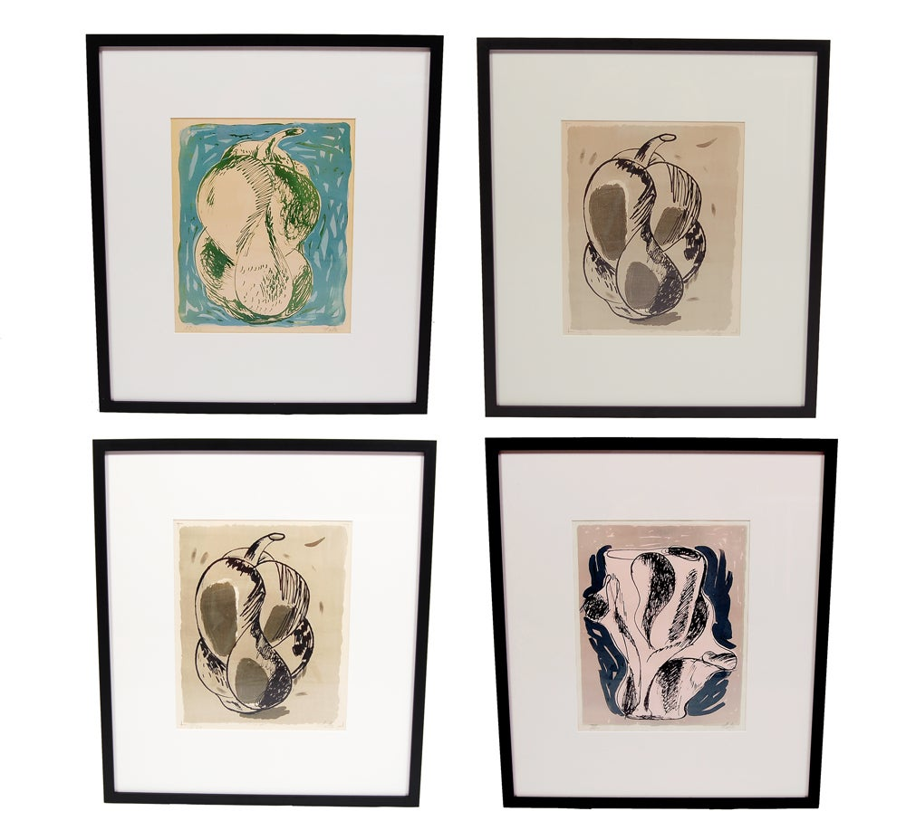 Small series of original lithographs (30 each) of Salto's famous stoneware pieces that were made by Royal Copenhagen. Each is pencil signed and dated; series was published by I. Christian Sorensen. Size is framed.