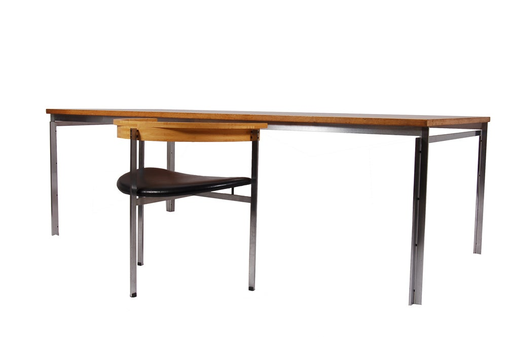 Oak top work table with matte chrome frame and legs. Purchased from a Danish architect. Table by E. Kold Christensen. PK-11 armchair no longer available.