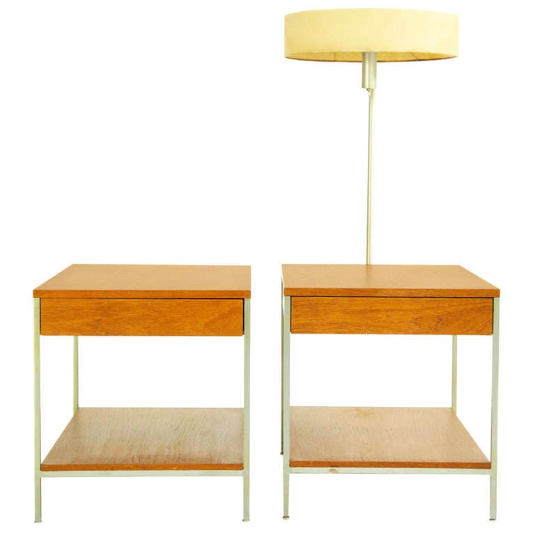George Nelson Pair of End Tables with Lamp
