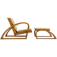 Francis Jourdain Adjustable Chair and Ottoman