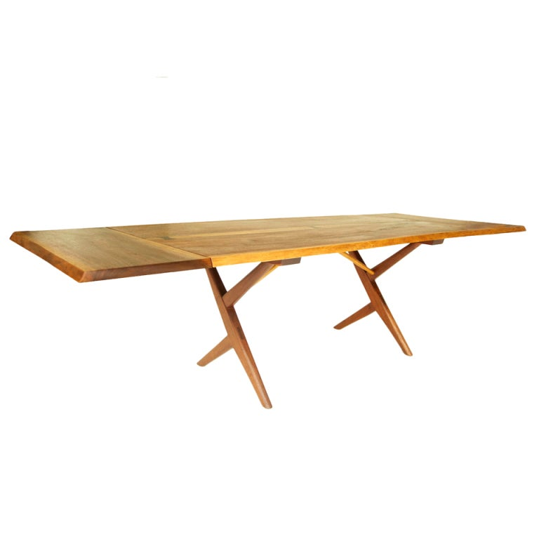 George nakashima cross leg two leaf dining table at 1stdibs - Crossed leg dining table ...