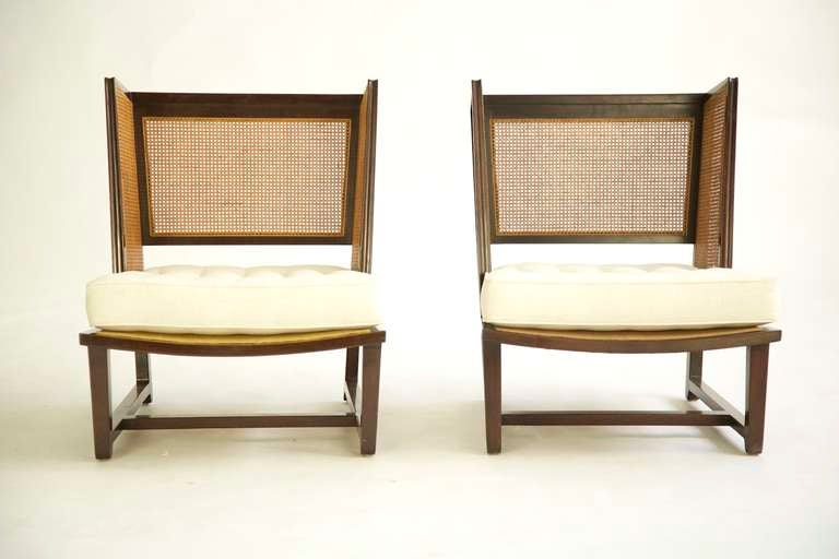Mid-Century Modern Pair of Dunbar Wingback Lounge Chairs