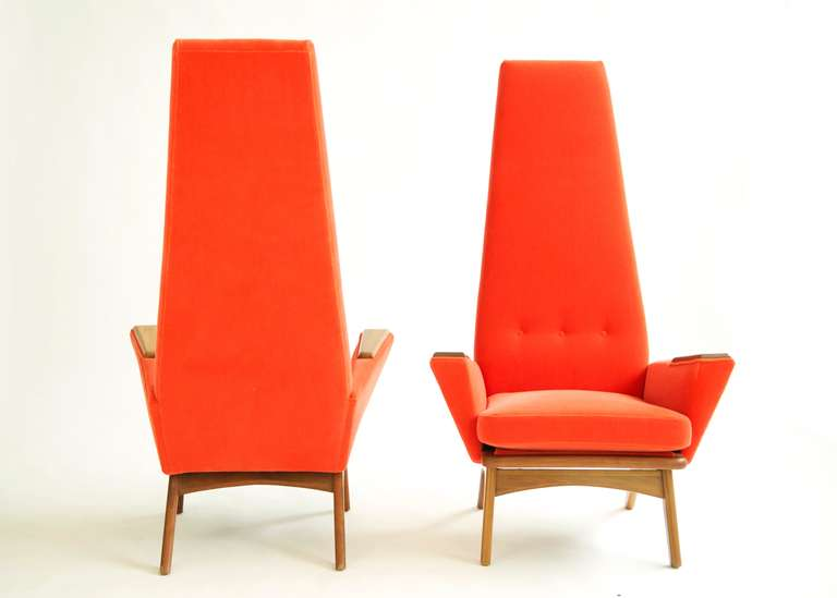 Adrian Pearsall Pair Of Slim Jim Chairs At 1stdibs