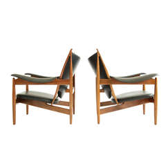 Finn Juhl Chieftan Lounge Chairs, circa 1999 in the style of Mid Century Modern