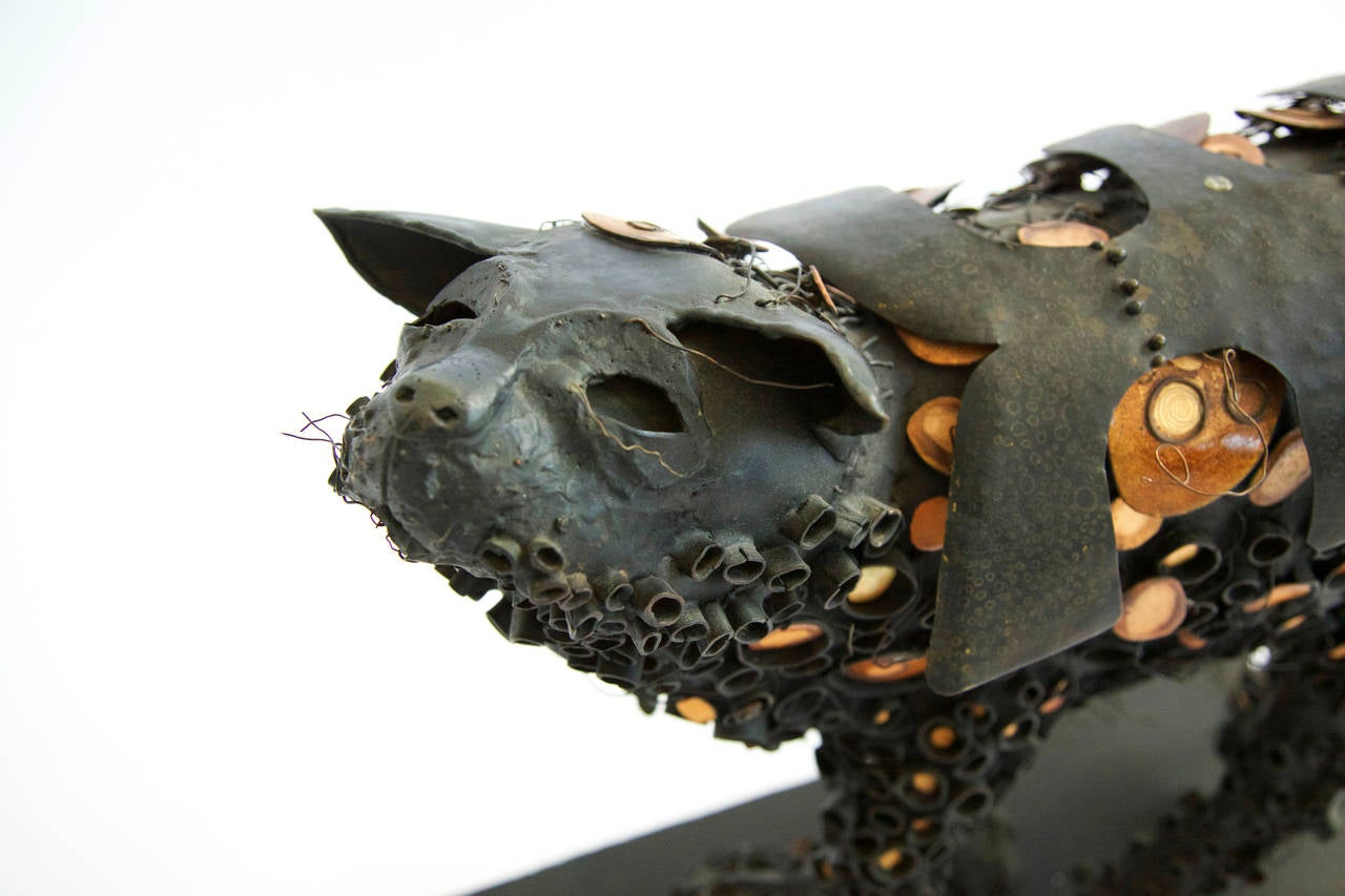 Brutalist Black Cat Sculpture 2
