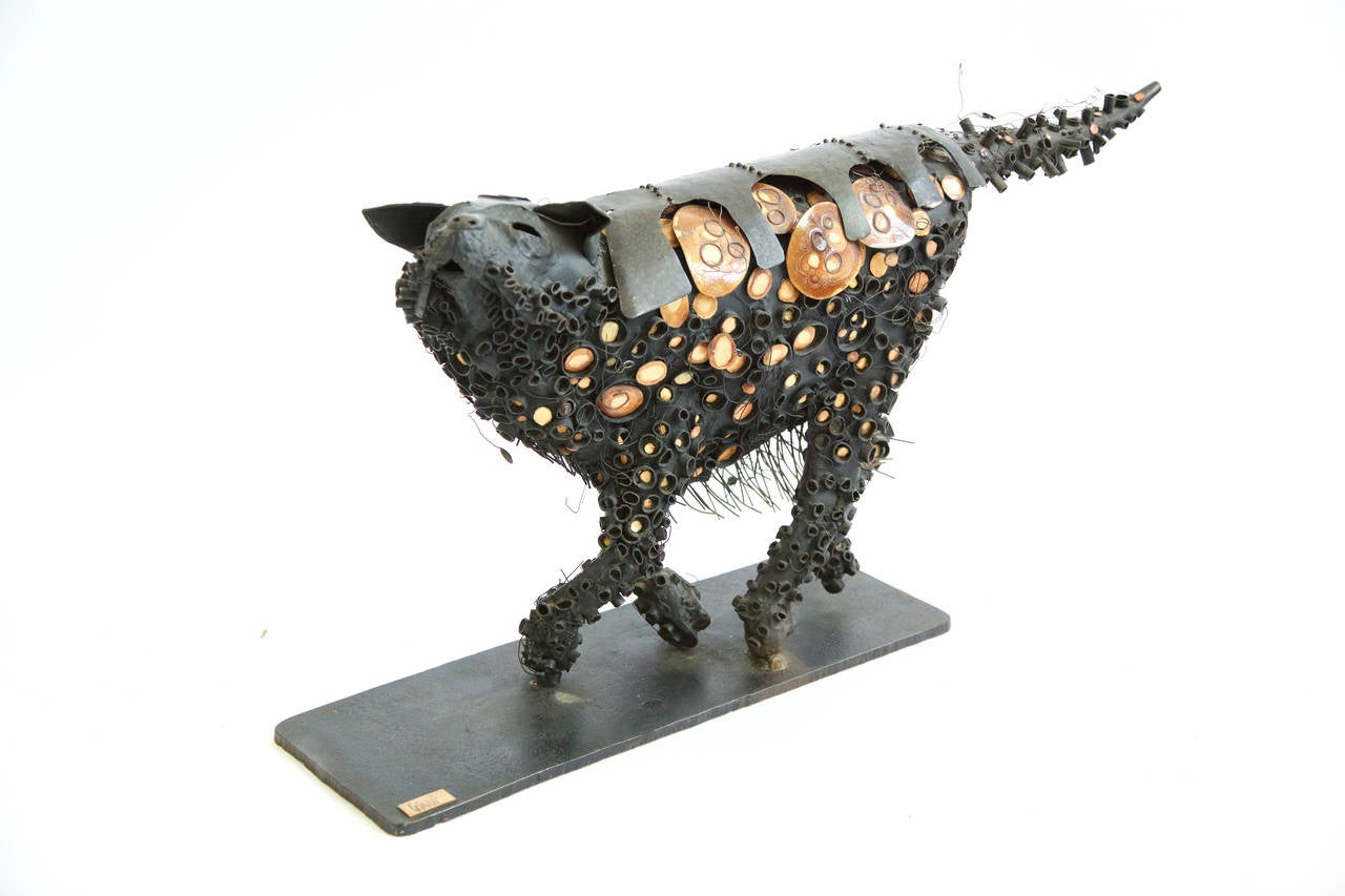 Brutalist Black Cat Sculpture 4