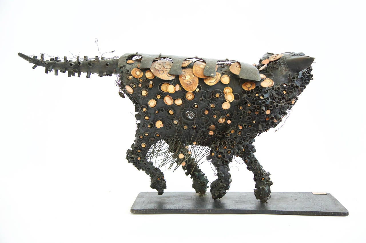 Brutalist Black Cat Sculpture 5