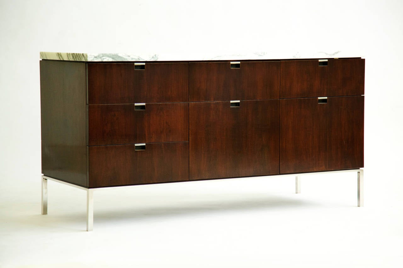 florence knoll credenza custom marble top for sale at stdibs - florence knoll credenza custom marble top