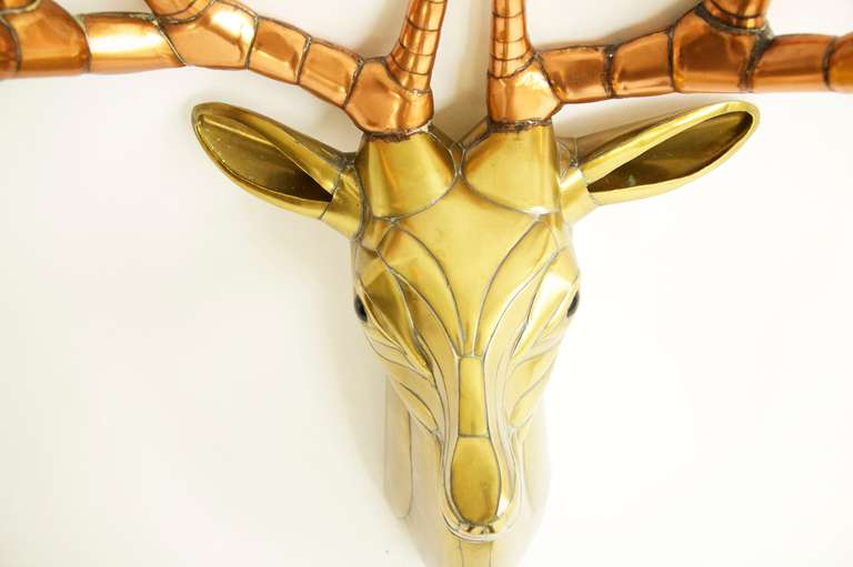 Polished Sergio Bustamante Stag Head For Sale