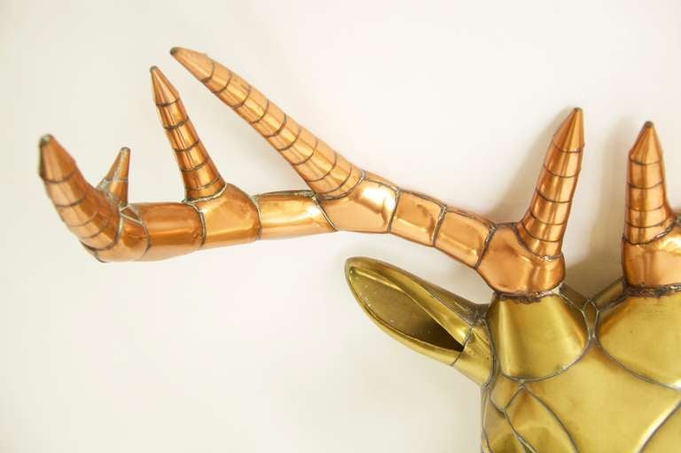 Late 20th Century Sergio Bustamante Stag Head For Sale