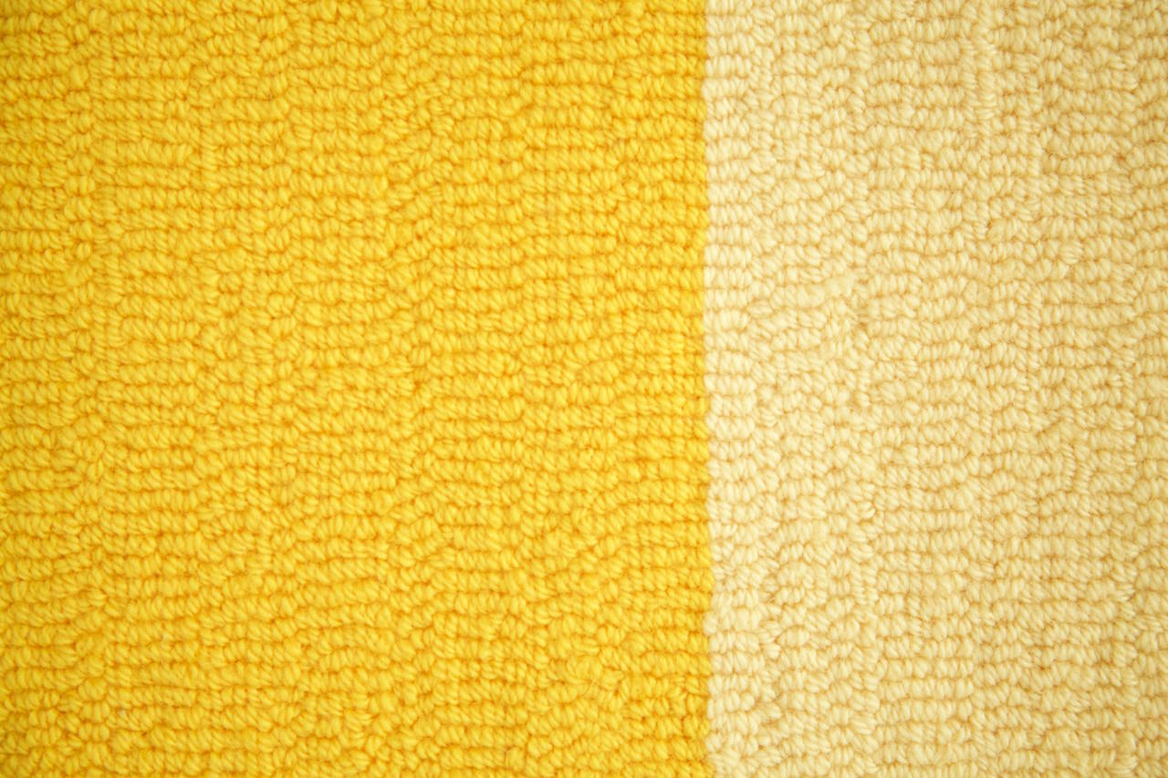 This Tapestry made by Edward Fields is from a series produced and installed in the Mies van der Rohe Commonwealth buildings 330-340 Diversey, Chicago Graduated Colors with grey square hand-knotted 100% virgin wool [Edward Fields label]