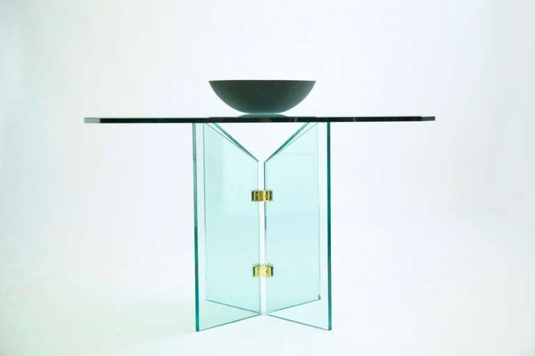 Pace Collection Brass and Glass Table For Sale 1