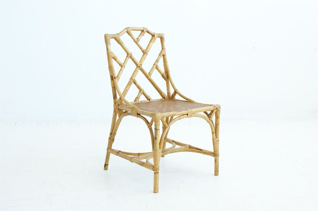 Set of six italian rattan dining chairs at 1stdibs for Wicker dining room chairs