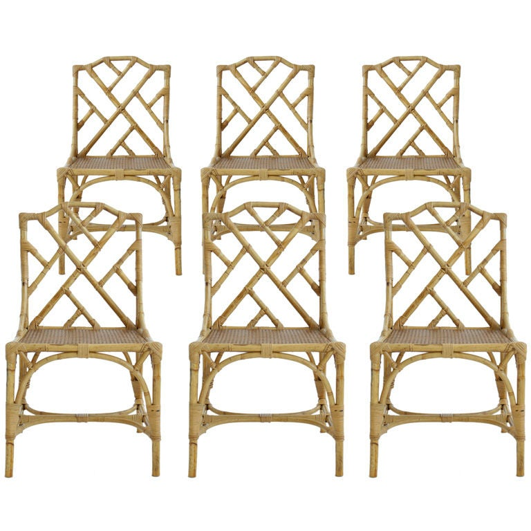 Set Of Six Italian Rattan Dining Chairs At 1stdibs
