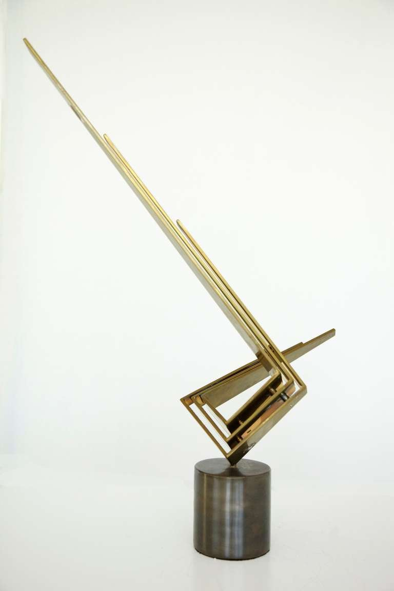 Bronze sculpture, abstract winged form on cylindrical base, signed