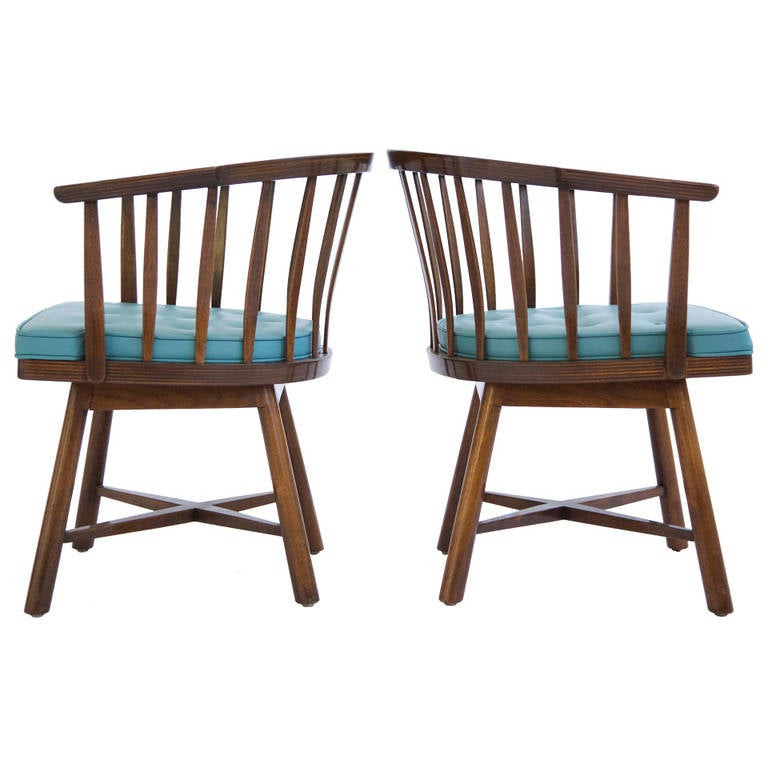 Pair Of Edward Wormley Revolving Chairs For Sale At 1stdibs
