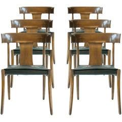 Set Of Six Classic Greek Klismos Dinning Chairs
