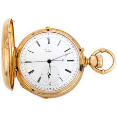 Jules Jurgensen Yellow Gold Two-Train Chronograph Hunting Case Pocket Watch
