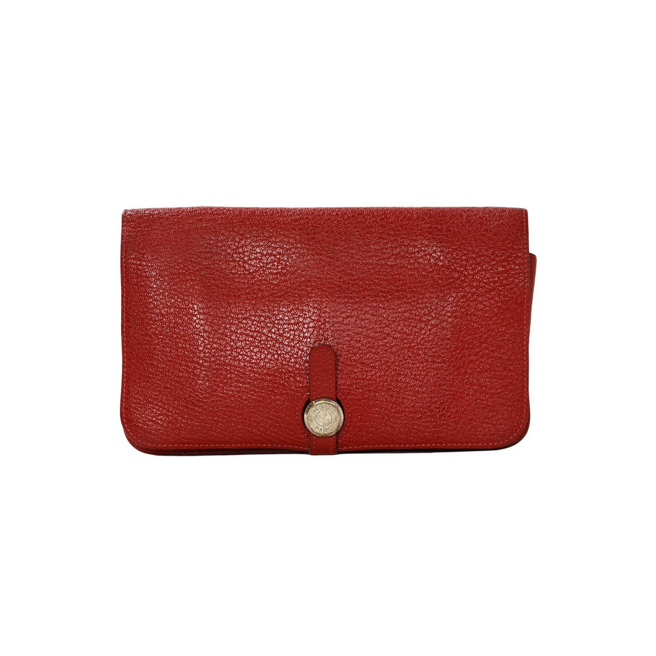 Hermes Red Chevre Leather Dogon Wallet PHW 1