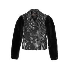 New VERSACE Studded Leather Moto Jacket With Mink Sleeves