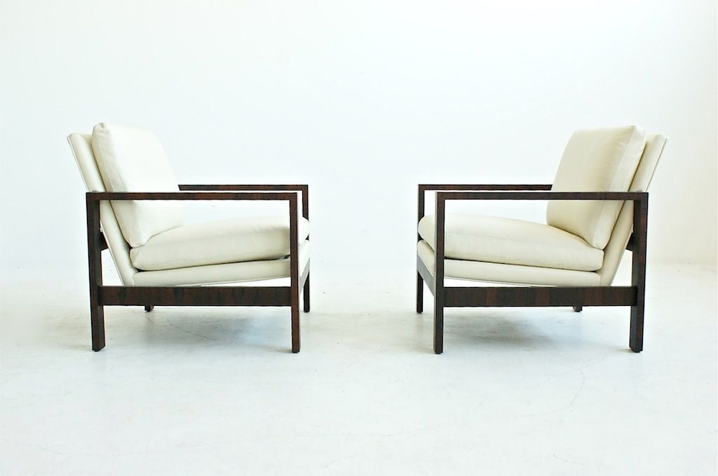 BAUGHMAN for THAYER COGGIN: Pair of rare Rosewood Lounge Chairs.