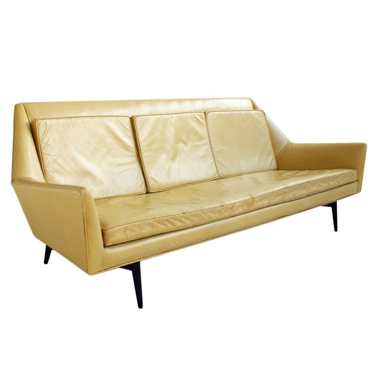 Dreipunkt Designer Leather Sofa Mustard Yellow Two Seat: Rare Paul McCobb Three Seat Sofa For Sale At 1stdibs